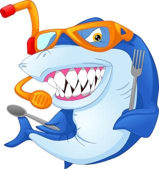 Cartone animato squalo tenendo posate