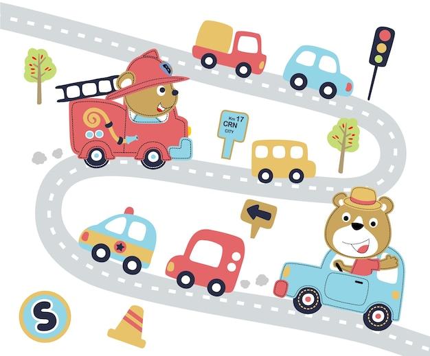 Cartone animato strada trafficata