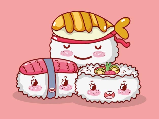 Cartone animato, sushi e panini giapponesi di sushi di salmone di riso di pesce di kawaii