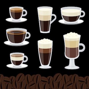 Cartone animato tazze di caffè