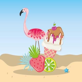 Cartone animato tema tropicale spiaggia scenario