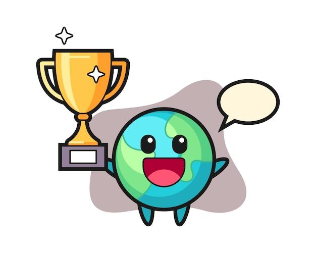 Cartone animato terra felice alzando il trofeo d'oro