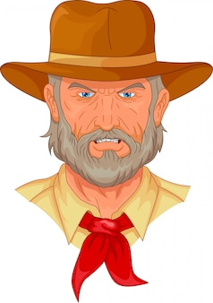 Cartone animato testa di cowboy