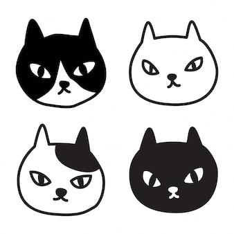 Cartone animato testa di gatto gattino