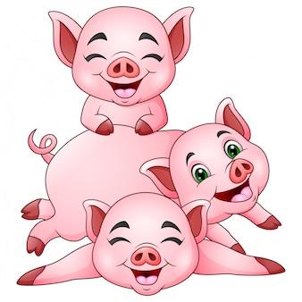 Cartone animato tre maialino in un cappello da festa