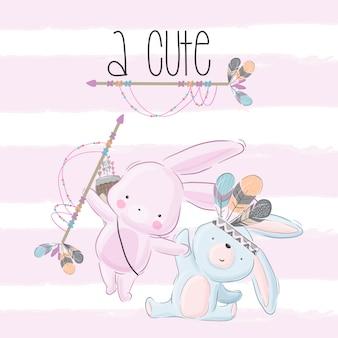 Cartone animato tribale coniglietto carino felice