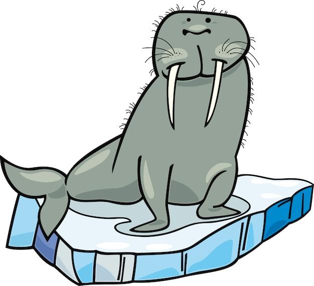 Cartone animato tricheco sul ghiaccio galleggiante