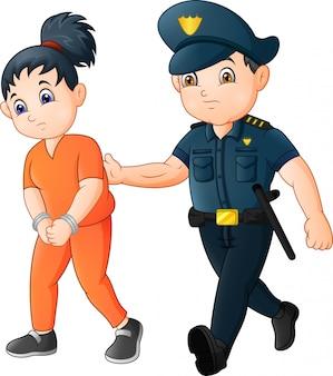 Cartone animato ufficiale di polizia con un prigioniero