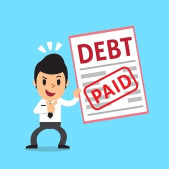 Cartone animato un uomo d'affari ha pagato il suo debito