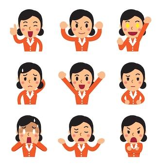 Cartone animato una donna d'affari affronta mostrando emozioni diverse