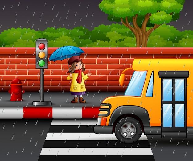 Cartone animato una ragazza che porta ombrello