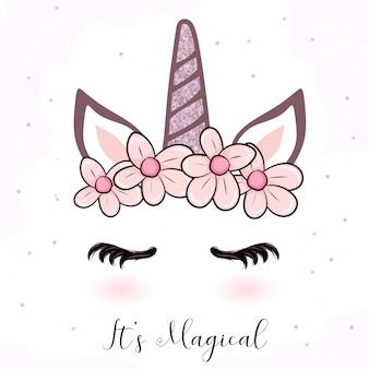Cartone animato unicorno carino con corona di fiori