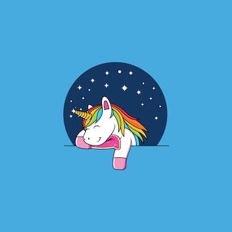 Cartone animato unicorno dormire
