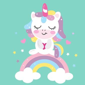 Cartone animato unicorno ute con arcobaleno pastello