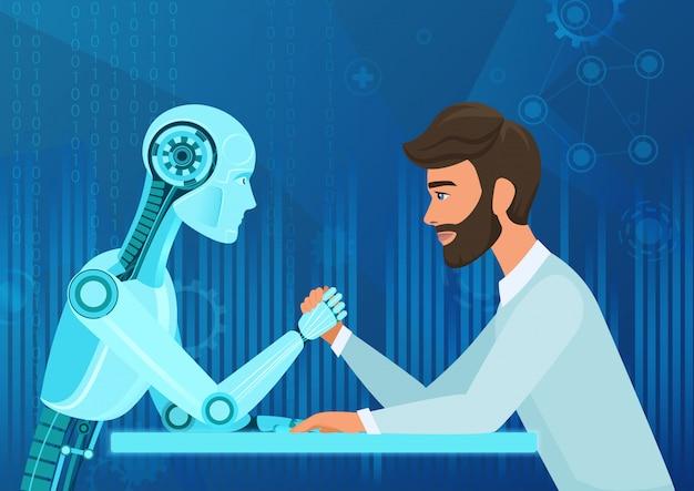 Cartone animato uomo d'affari ufficio manager uomo vs robot intelligenza artificiale tirando la concorrenza di corda. battaglia futura.