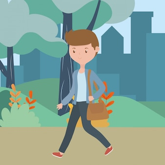 Cartone animato uomo nel parco
