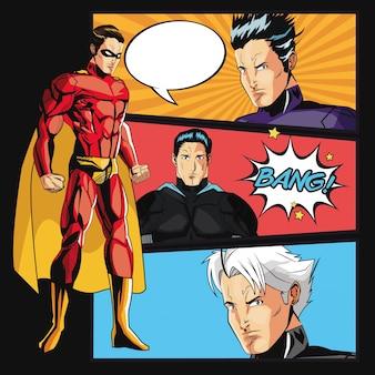 Cartone animato uomo supereroe