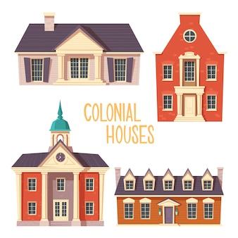 Cartone animato urbano retrò in stile coloniale