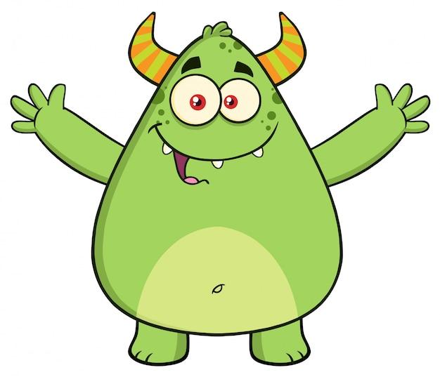 Cartone animato verde mostro con le braccia aperte