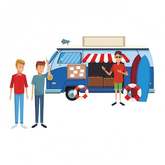 Cartone animato vintage viaggio van