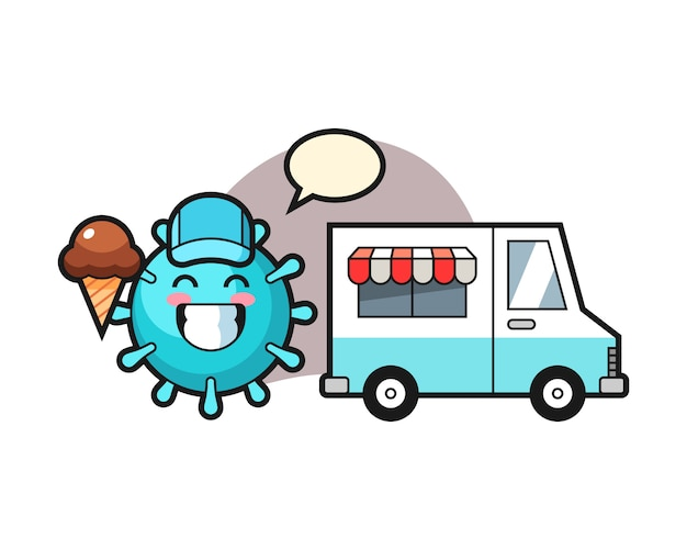 Cartone animato virus con camion dei gelati