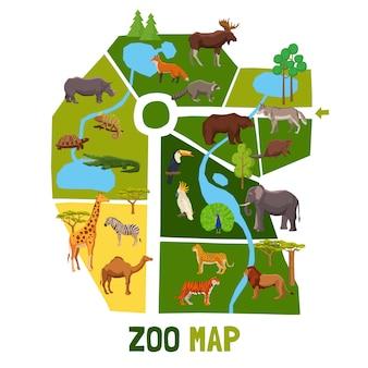 Cartone animato zoo mappa con animali