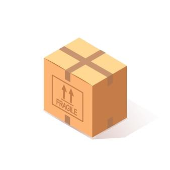 Cartone chiuso isometrico, scatola di cartone su sfondo bianco. pacchetto di trasporto in negozio, concetto di distribuzione.