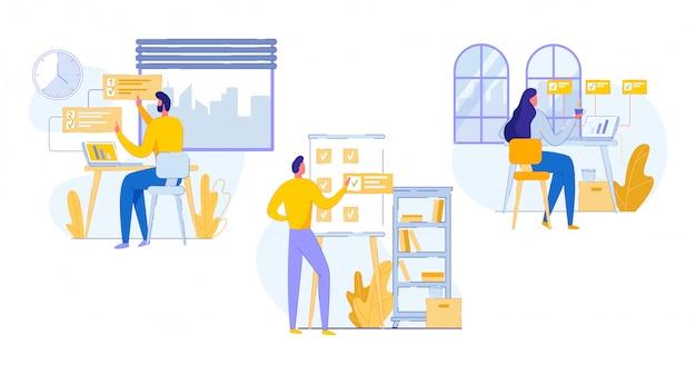 Cartone pubblicitario professionale banner di pianificazione del lavoro d'ufficio