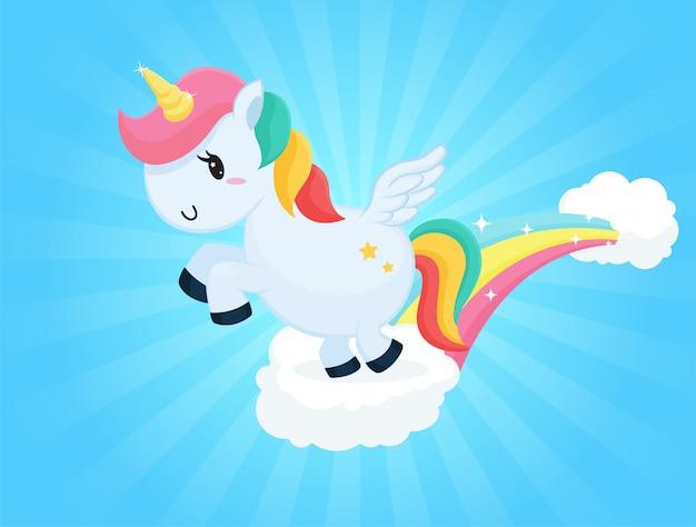 Cartoni animati carino unicorno che salta sulle nuvole cielo e luce solare bianca.