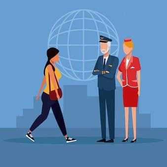 Cartoni animati dei lavoratori dell'aviazione