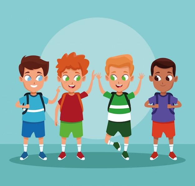 Cartoni animati dei ragazzi di scuola su fondo blu