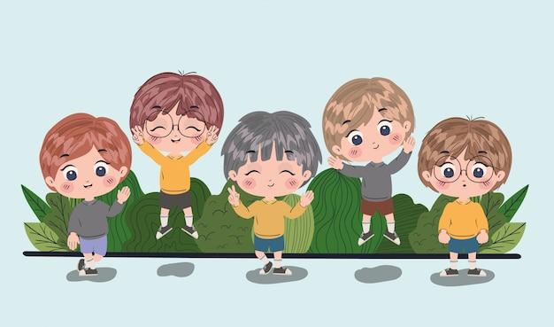 Cartoni animati dei ragazzi, stile di vita e illustrazione della persona di infanzia di amicizia dei bambini piccoli