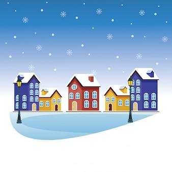 Cartoni animati del paesaggio invernale