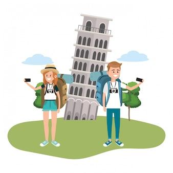 Cartoni animati delle coppie turistiche