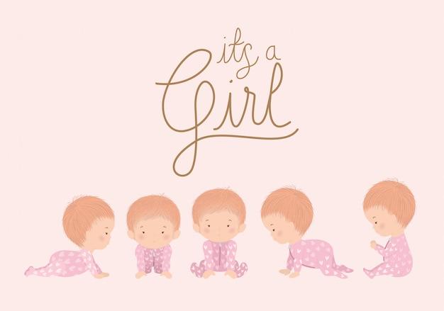 Cartoni animati delle ragazze del concetto della doccia di bambino