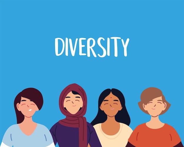 Cartoni animati di donne indiane ed europee musulmane latine