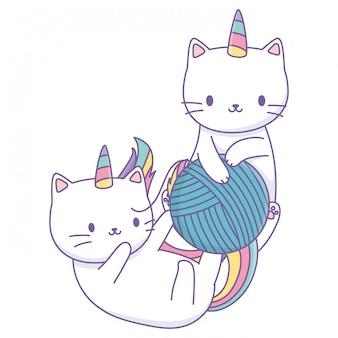 Cartoni animati di gatti unicorno
