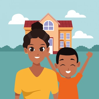 Cartoni animati di genitori e figli