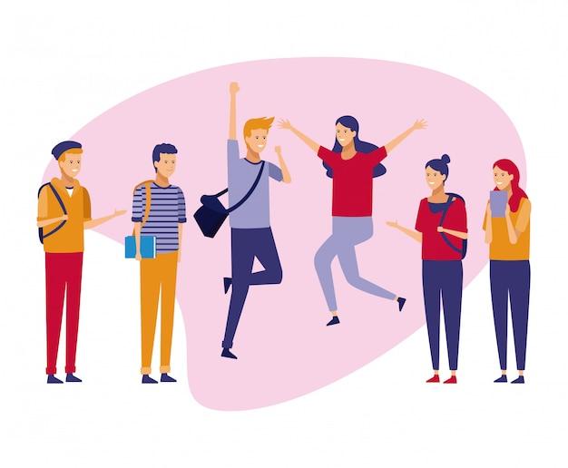 Cartoni animati di giovani studenti