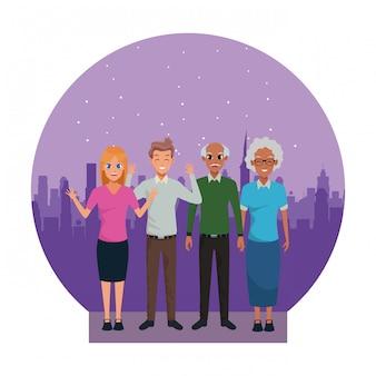 Cartoni animati di nonni e genitori di famiglia