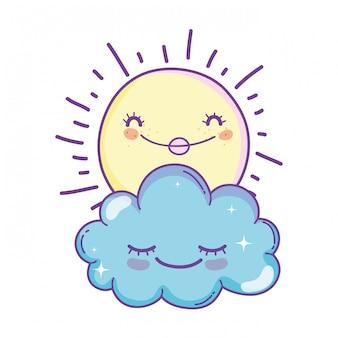 Cartoni animati di sole e nuvole