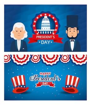 Cartoni animati di uomini avatar di set di auguri felice giorno di presidenti degli stati uniti