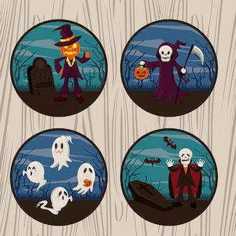Cartoni animati divertenti e spaventosi di halloween rotondi