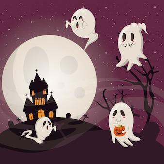 Cartoni animati divertenti e spaventosi di halloween