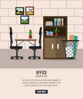 Cartoni animati interni ufficio sul posto di lavoro