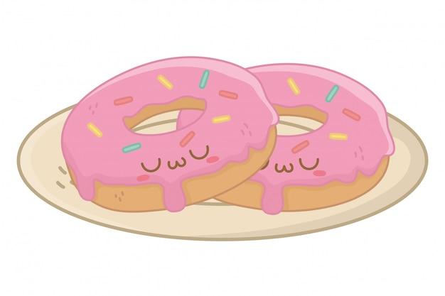 Cartoni animati kawaii di ciambelle