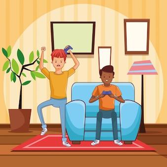 Cartoni animati millennial e videogiochi in bianco e nero