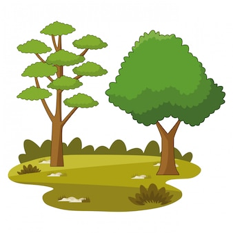 Cartoni animati parco alberi natura