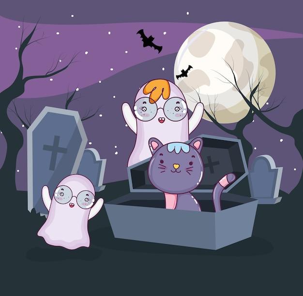 Cartoni animati per gatti di halloween