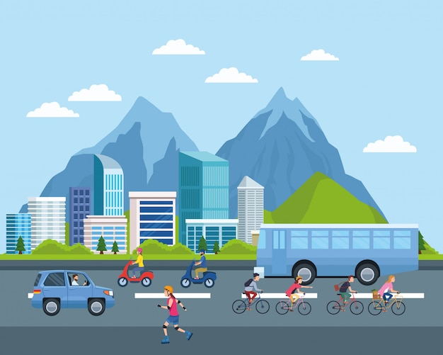 Cartoni animati per il trasporto urbano e la mobilità